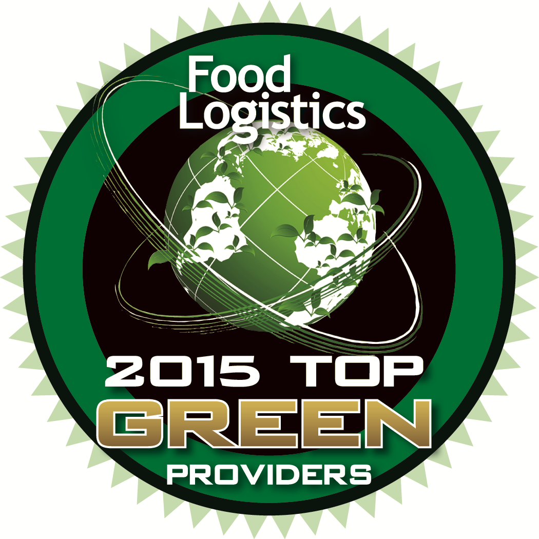 The Food Logistics 2015 Top Green Providers Badge, awarded to PINC for its contributions to sustainability in the supply chain.