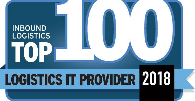 The Inbound Logistics Top 100 Logistics IT Providers of 2018 Badge, awarded to PINC for providing finished vehicle logistics solutions, yard management systems, and warehouse drones for inventory management to major brands.
